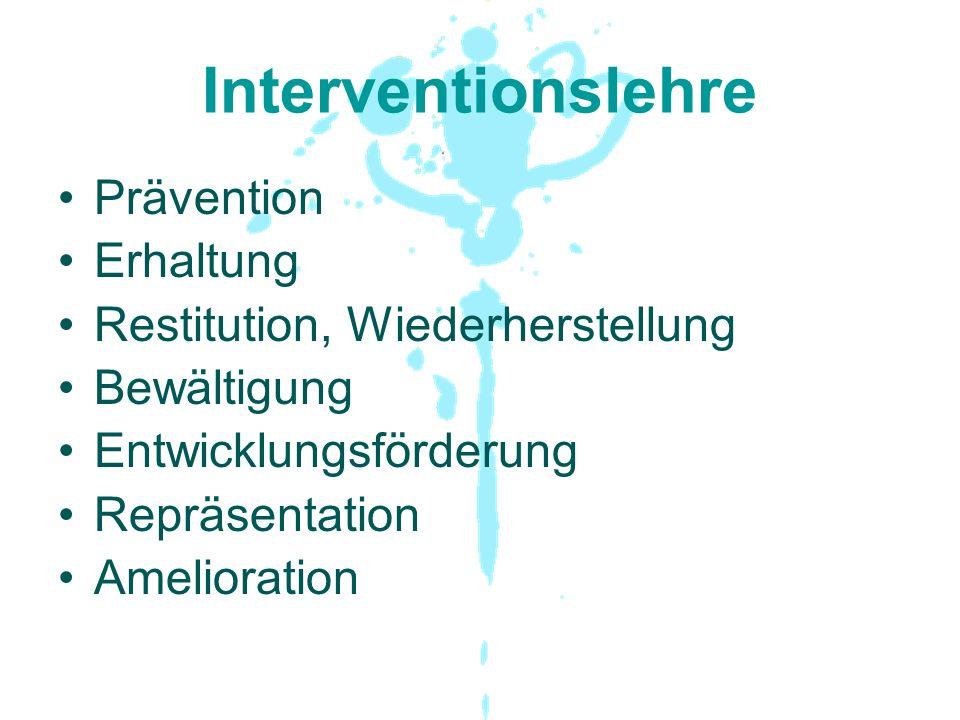 Interventionslehre Prävention Erhaltung Restitution, Wiederherstellung