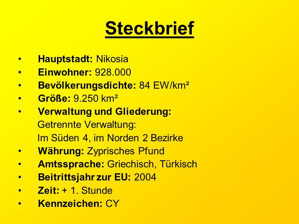 Steckbrief Hauptstadt: Nikosia Einwohner: 928.000