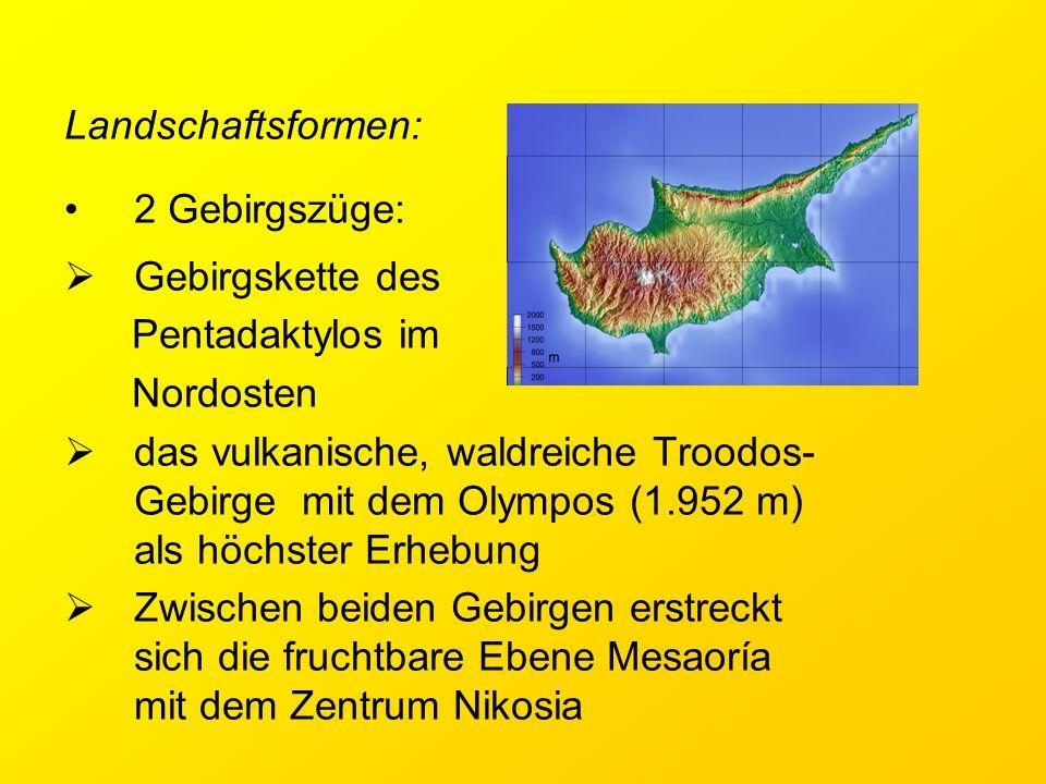 Landschaftsformen: 2 Gebirgszüge: Gebirgskette des. Pentadaktylos im. Nordosten.