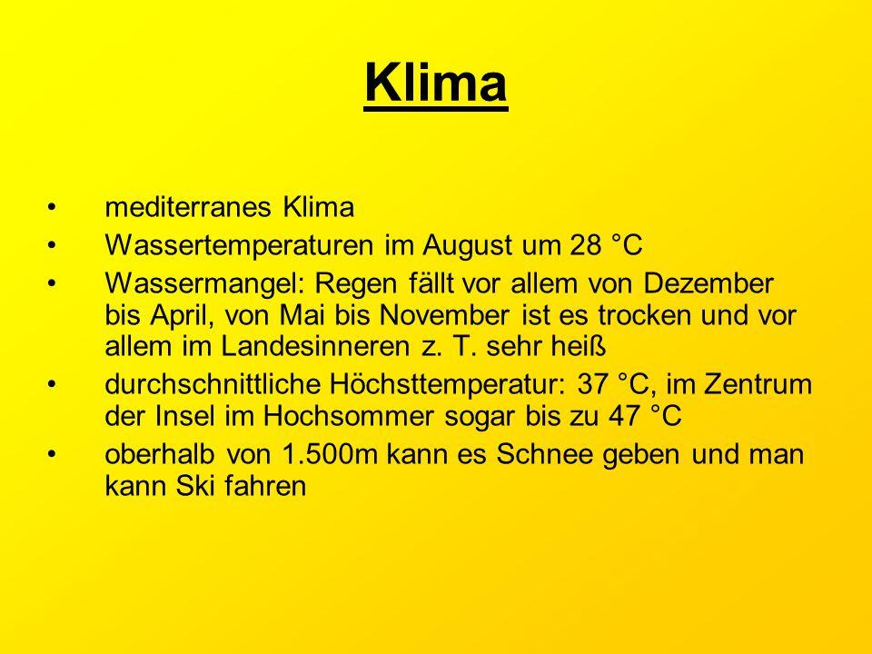 Klima mediterranes Klima Wassertemperaturen im August um 28 °C