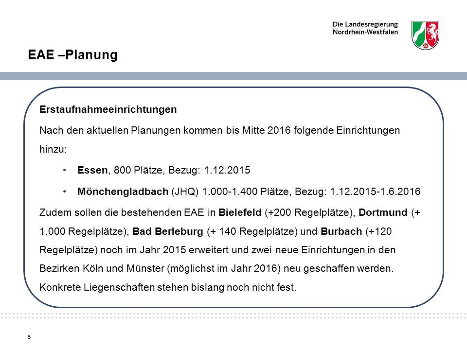 EAE –Planung Erstaufnahmeeinrichtungen