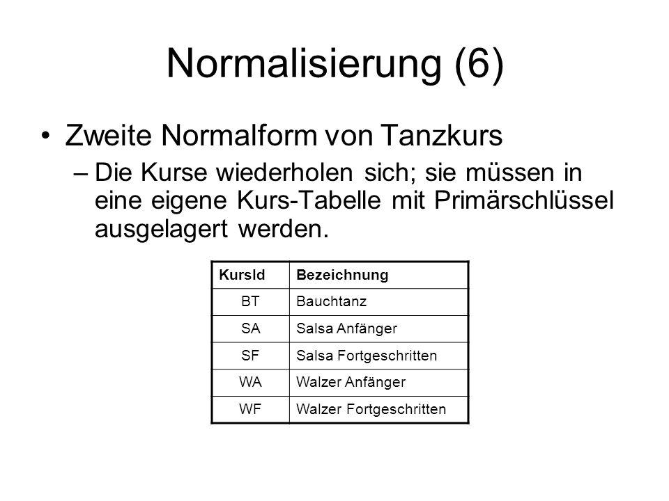 Normalisierung (6) Zweite Normalform von Tanzkurs