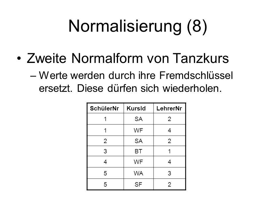 Normalisierung (8) Zweite Normalform von Tanzkurs