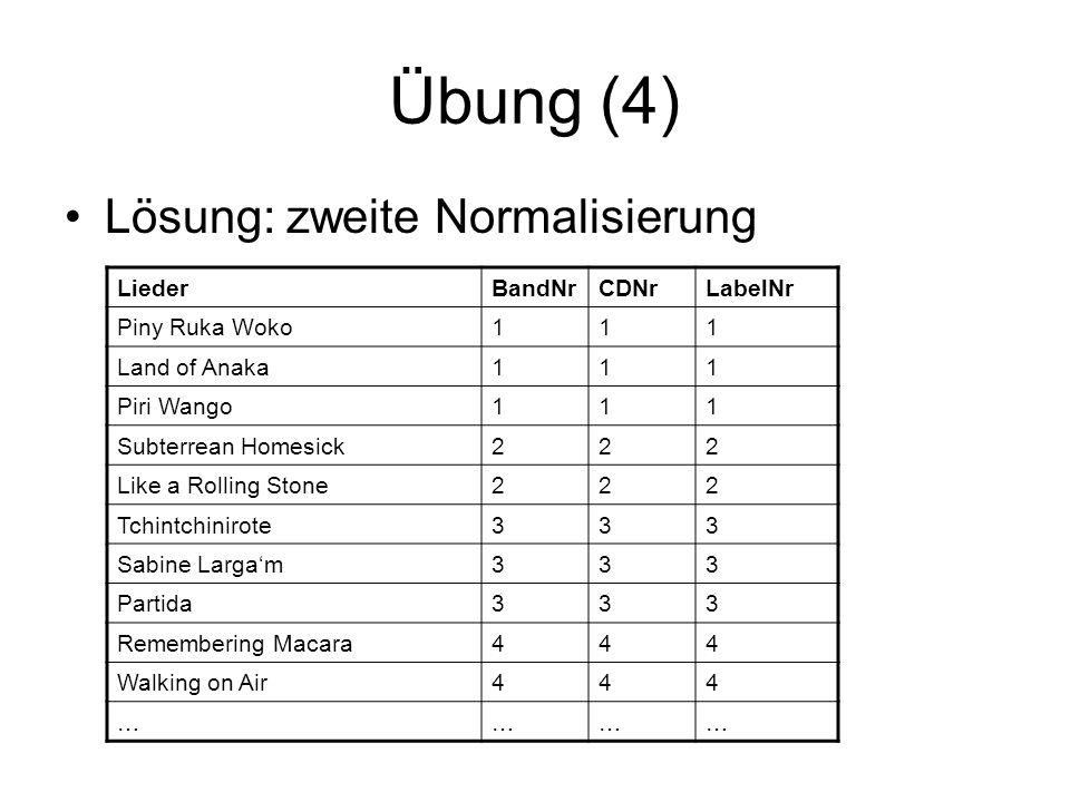 Übung (4) Lösung: zweite Normalisierung Lieder BandNr CDNr LabelNr