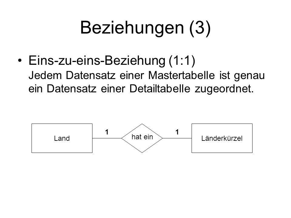 Beziehungen (3) Eins-zu-eins-Beziehung (1:1) Jedem Datensatz einer Mastertabelle ist genau ein Datensatz einer Detailtabelle zugeordnet.