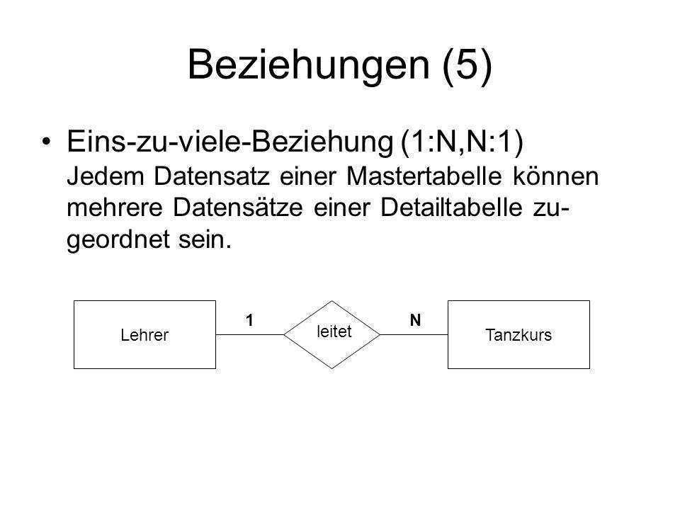 Beziehungen (5) Eins-zu-viele-Beziehung (1:N,N:1) Jedem Datensatz einer Mastertabelle können mehrere Datensätze einer Detailtabelle zu-geordnet sein.
