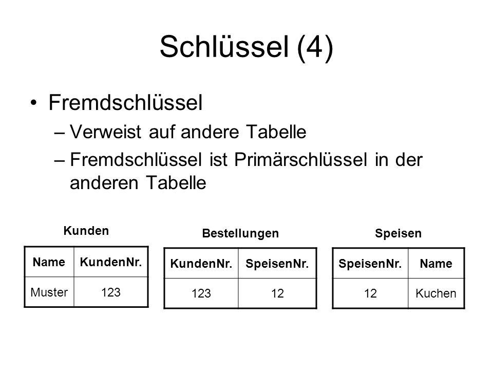 Schlüssel (4) Fremdschlüssel Verweist auf andere Tabelle