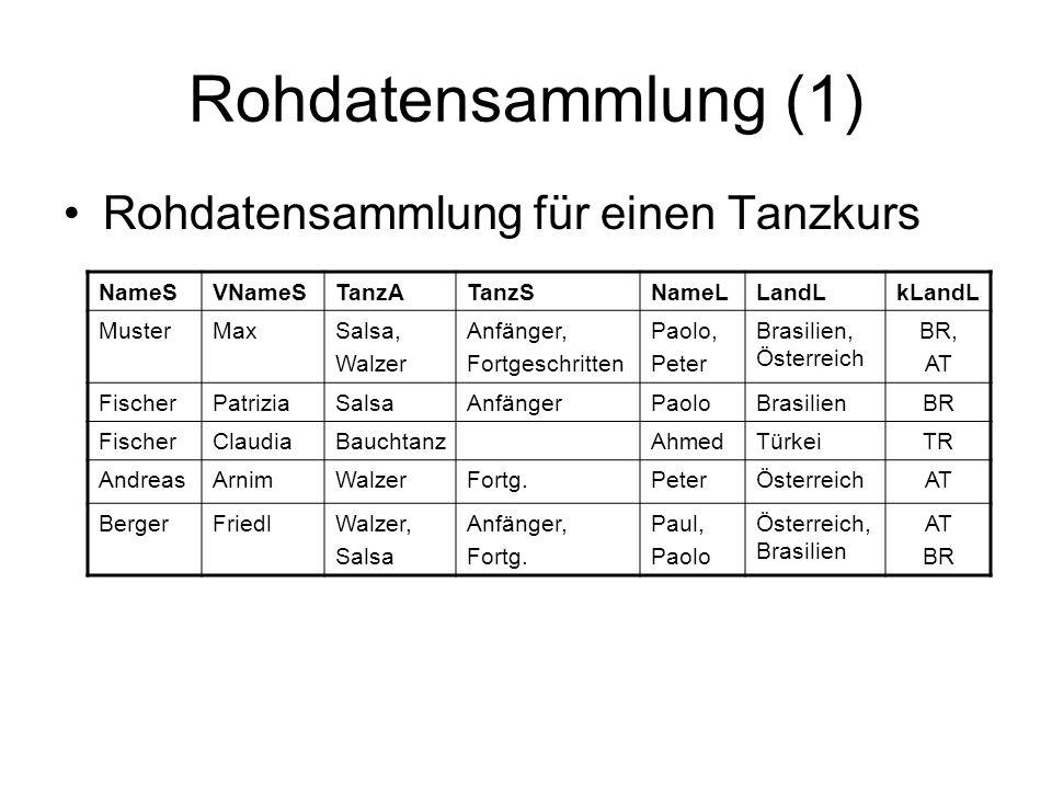 Rohdatensammlung (1) Rohdatensammlung für einen Tanzkurs NameS VNameS