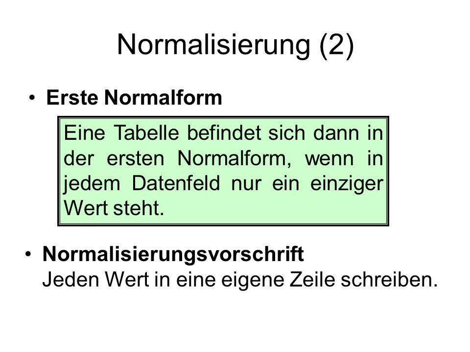 Normalisierung (2) Erste Normalform