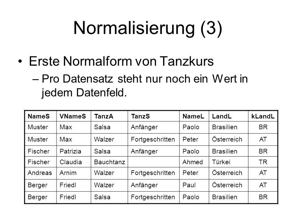 Normalisierung (3) Erste Normalform von Tanzkurs