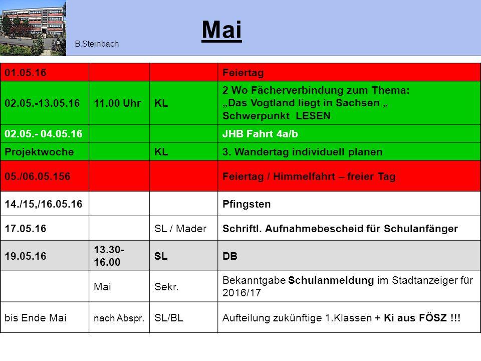 Mai B.Steinbach. 01.05.16. Feiertag. 02.05.-13.05.16. 11.00 Uhr. KL. 2 Wo Fächerverbindung zum Thema:
