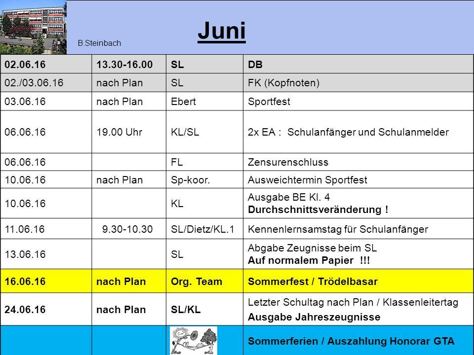 Juni 02.06.16 13.30-16.00 SL DB 02./03.06.16 nach Plan FK (Kopfnoten)