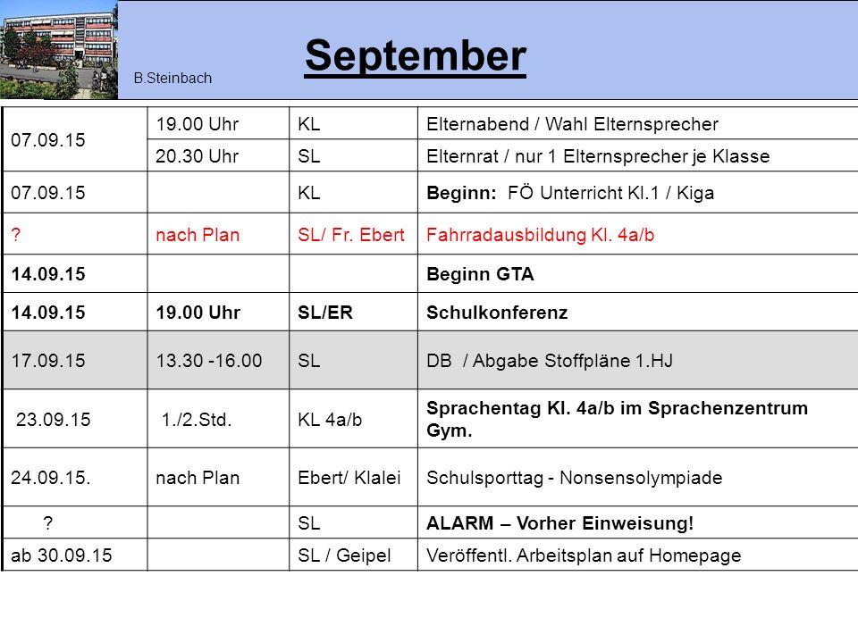 September 07.09.15 19.00 Uhr KL Elternabend / Wahl Elternsprecher