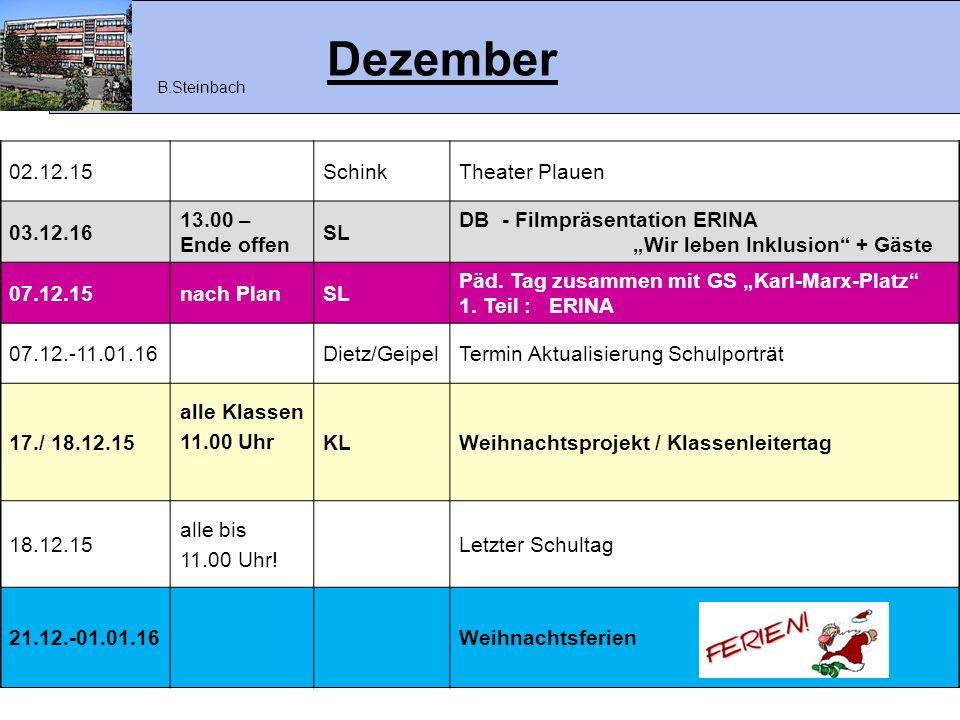Dezember 02.12.15 Schink Theater Plauen 03.12.16 13.00 – Ende offen SL