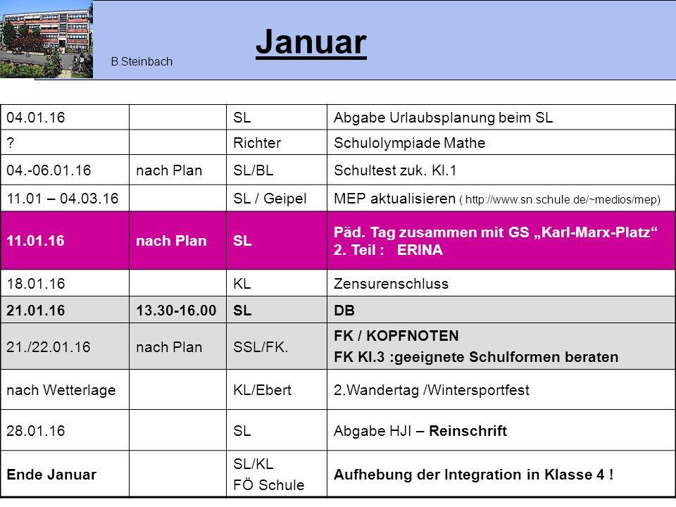 Januar 04.01.16 SL Abgabe Urlaubsplanung beim SL Richter