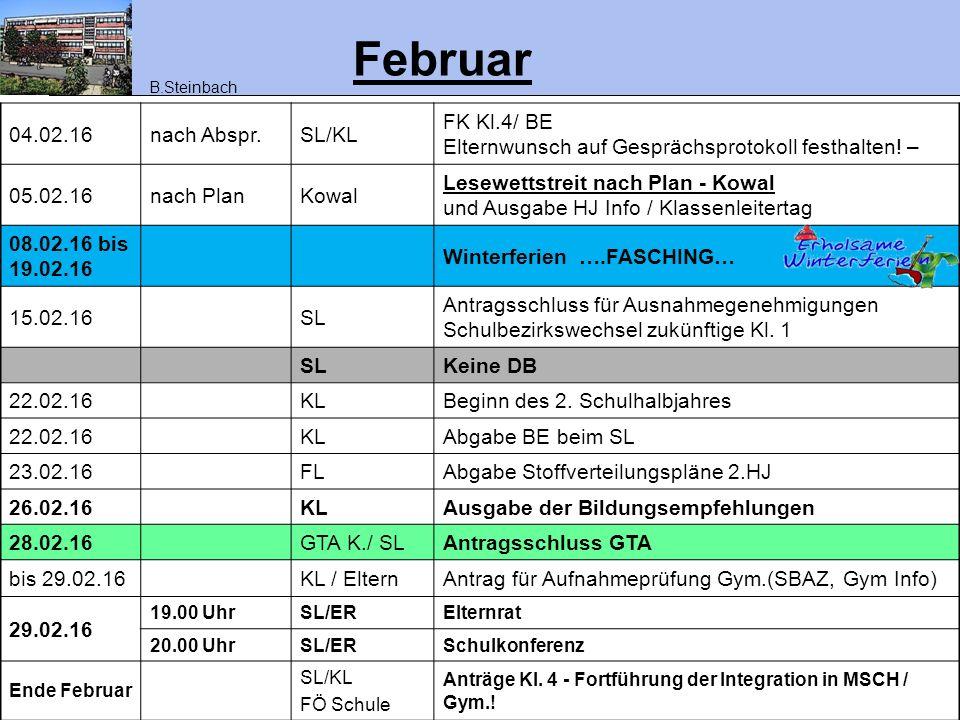 Februar 04.02.16 nach Abspr. SL/KL FK Kl.4/ BE