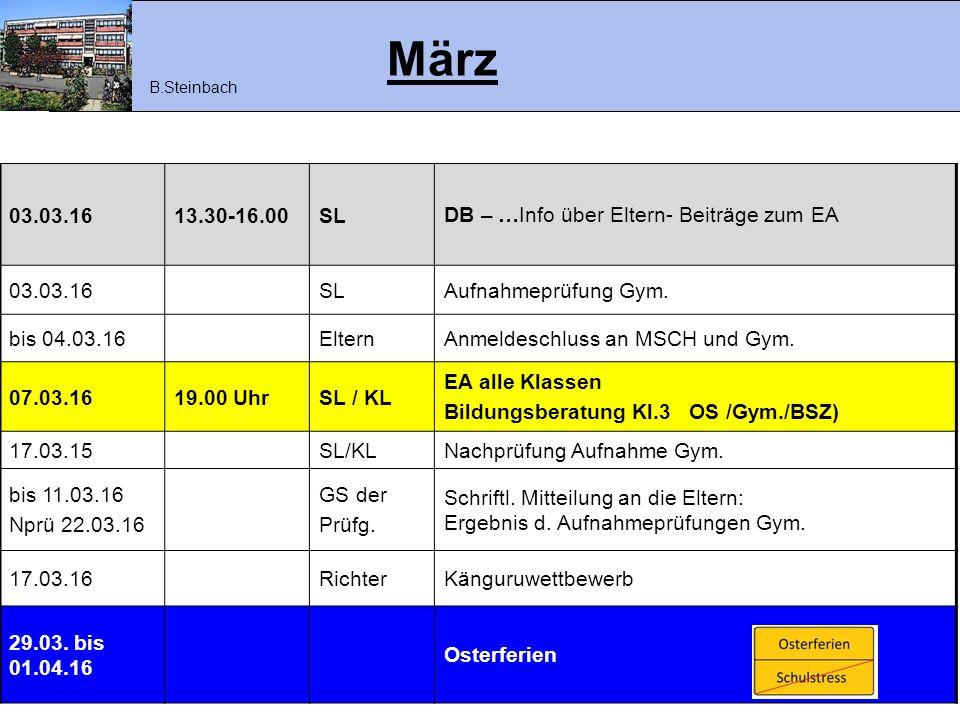 März 03.03.16 13.30-16.00 SL DB – …Info über Eltern- Beiträge zum EA