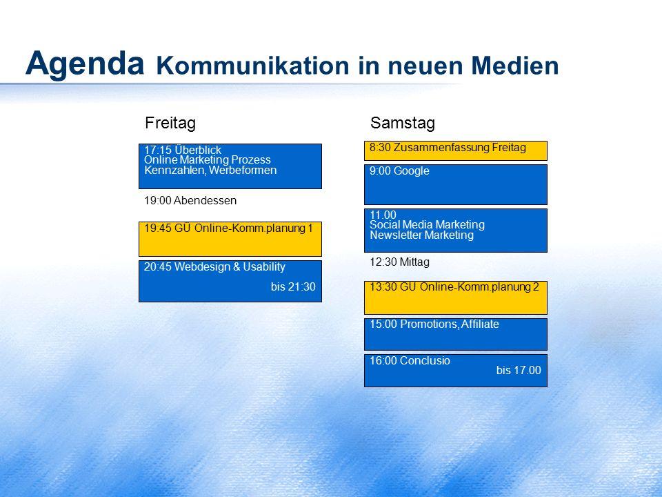 Agenda Kommunikation in neuen Medien