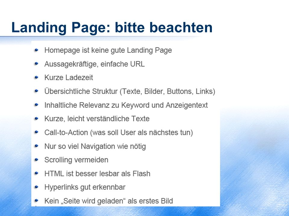 Landing Page: bitte beachten