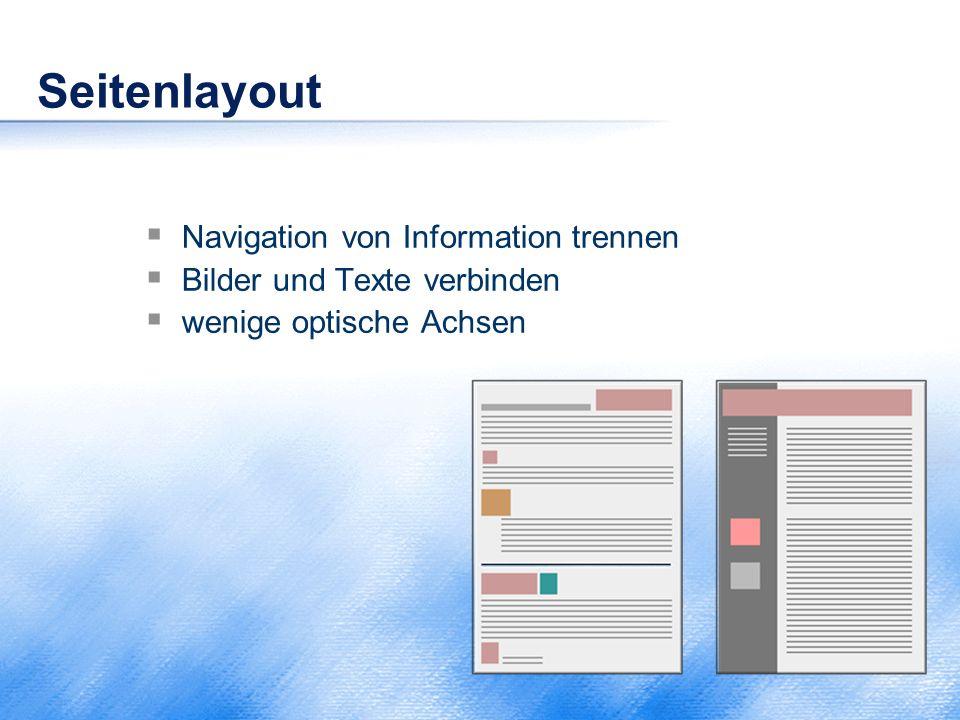 Seitenlayout Navigation von Information trennen