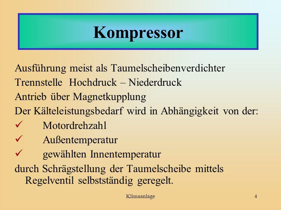Kompressor Ausführung meist als Taumelscheibenverdichter