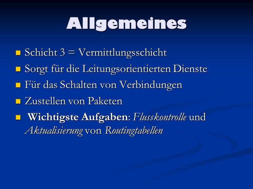 Allgemeines Schicht 3 = Vermittlungsschicht