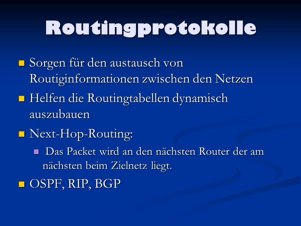 Routingprotokolle Sorgen für den austausch von Routiginformationen zwischen den Netzen. Helfen die Routingtabellen dynamisch auszubauen.