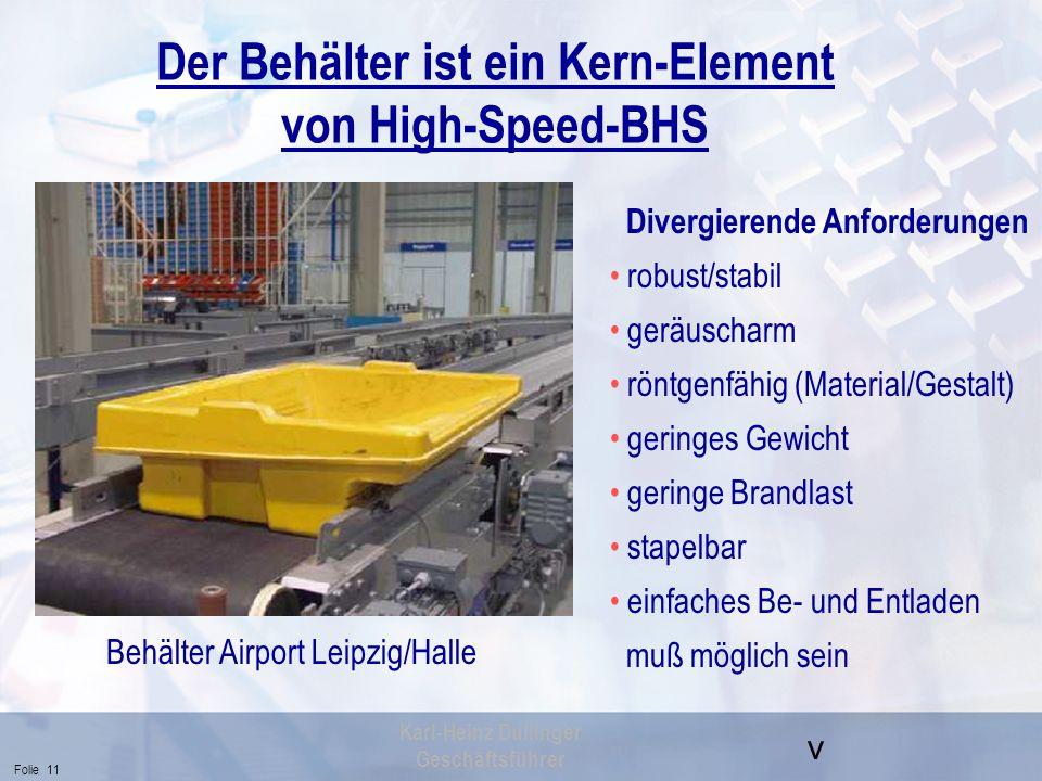 Der Behälter ist ein Kern-Element von High-Speed-BHS