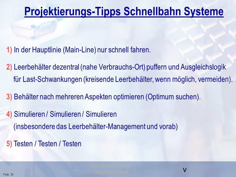 Projektierungs-Tipps Schnellbahn Systeme