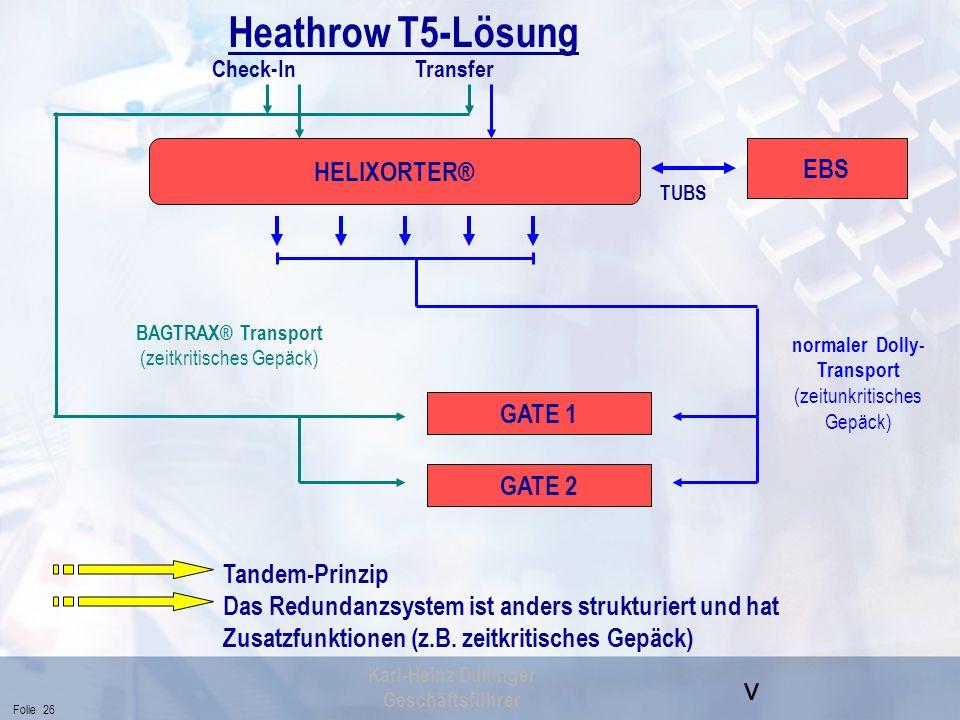 Heathrow T5-Lösung HELIXORTER® EBS GATE 1 GATE 2 Tandem-Prinzip