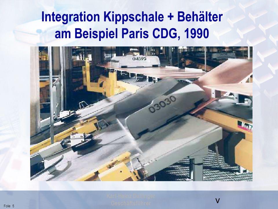 Integration Kippschale + Behälter am Beispiel Paris CDG, 1990