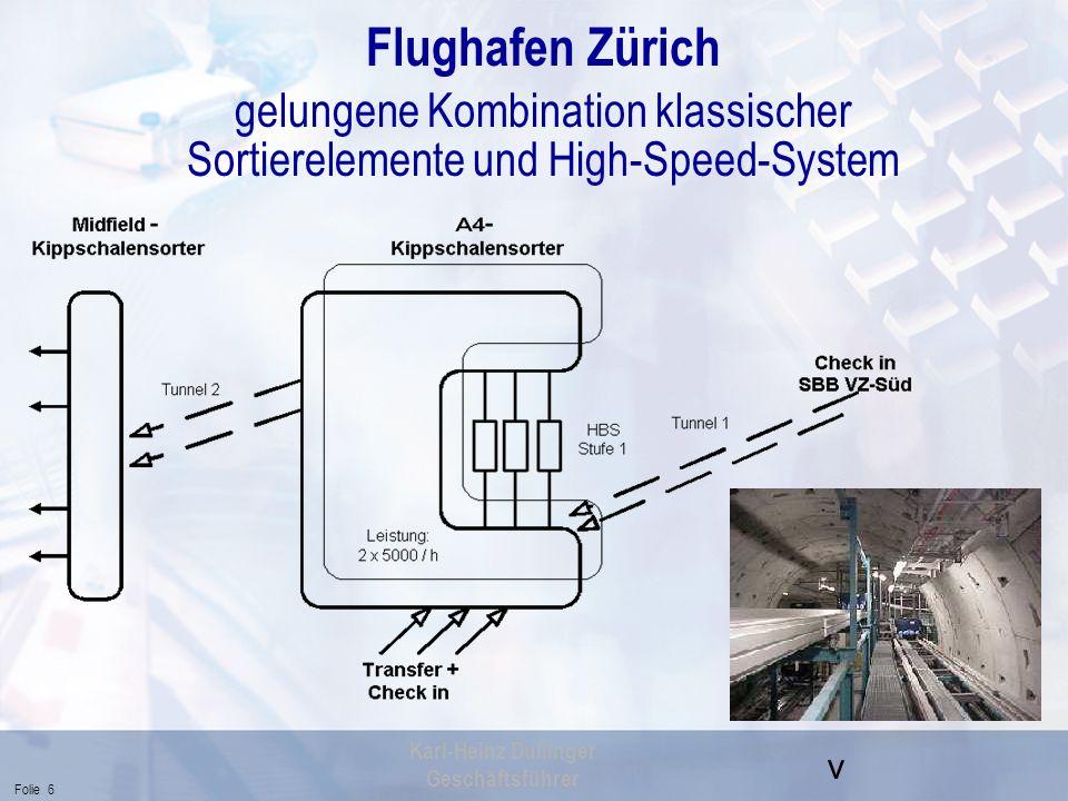 Flughafen Zürich gelungene Kombination klassischer Sortierelemente und High-Speed-System