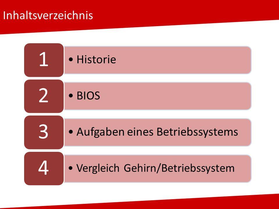 Inhaltsverzeichnis 1 Historie 2 BIOS 3 Aufgaben eines Betriebssystems