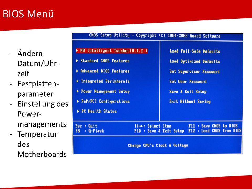 BIOS Menü Ändern Datum/Uhr-zeit Festplatten-parameter