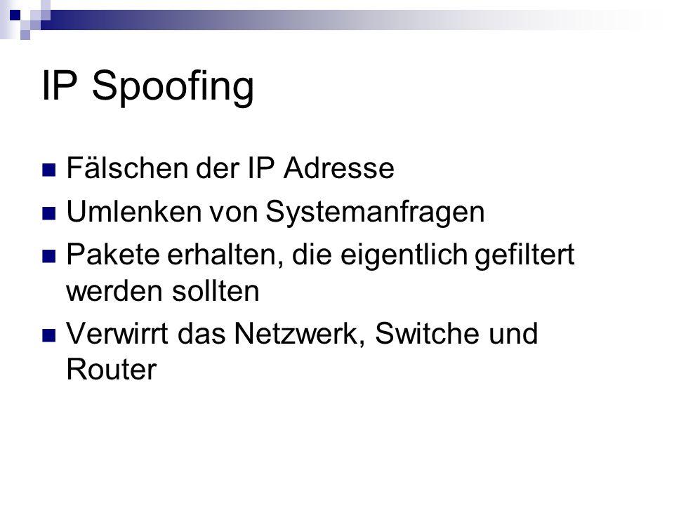 IP Spoofing Fälschen der IP Adresse Umlenken von Systemanfragen