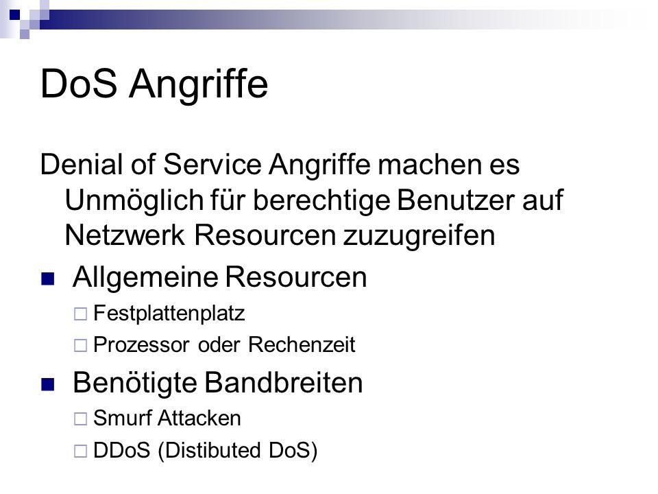 DoS Angriffe Denial of Service Angriffe machen es Unmöglich für berechtige Benutzer auf Netzwerk Resourcen zuzugreifen.