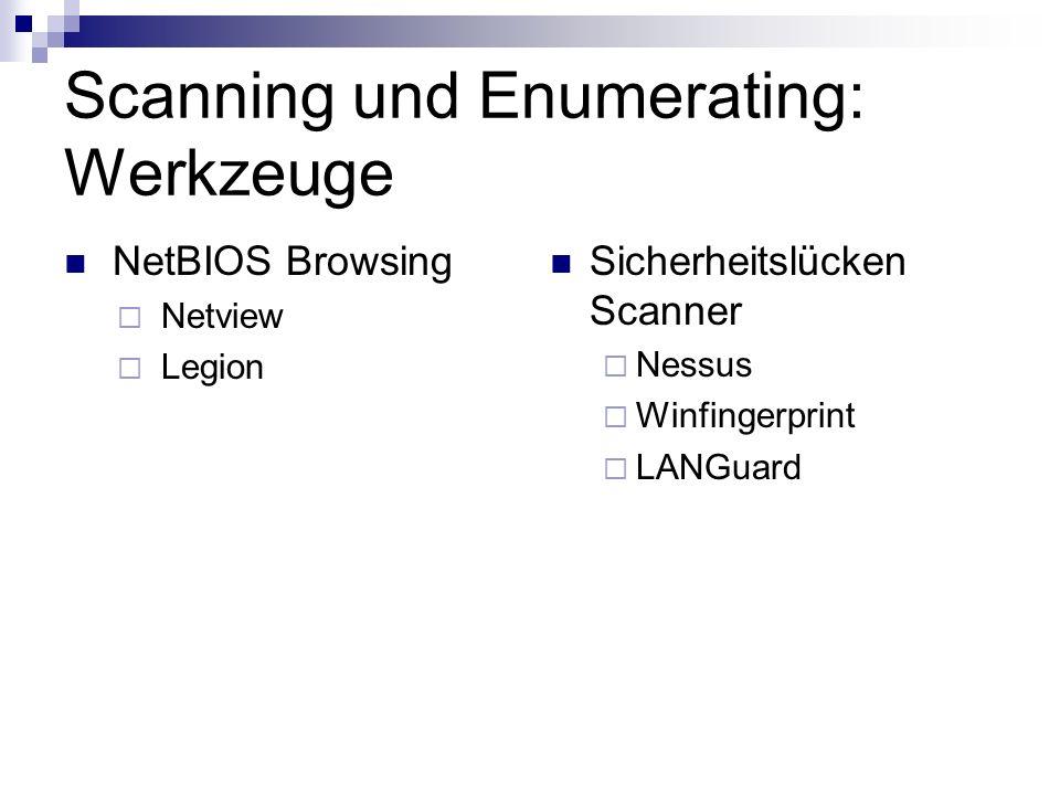 Scanning und Enumerating: Werkzeuge