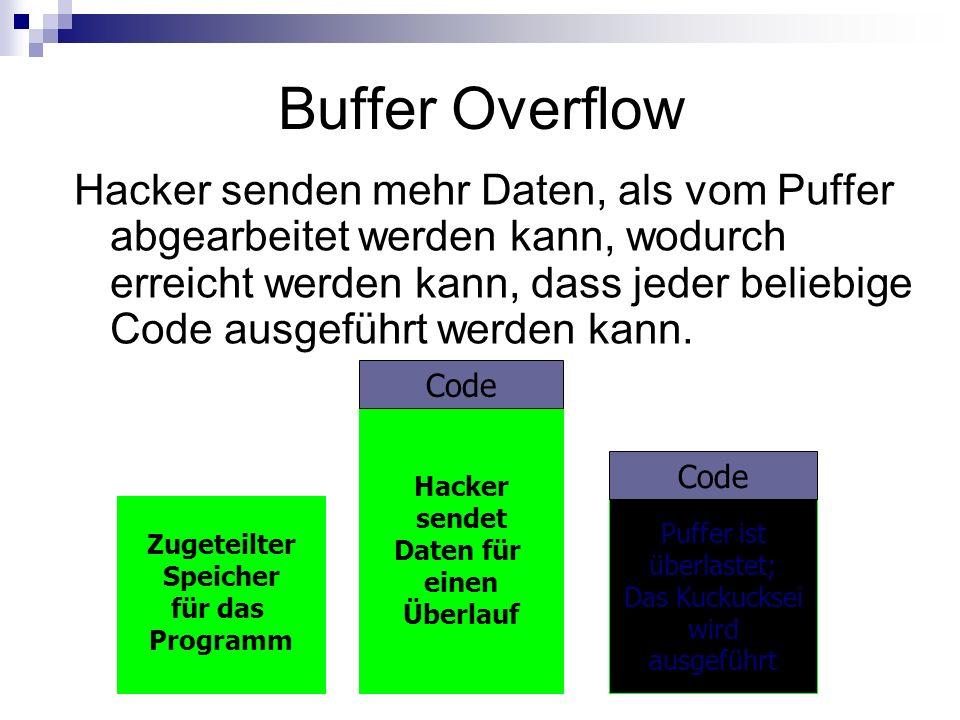 Hacker sendet Daten für einen Überlauf