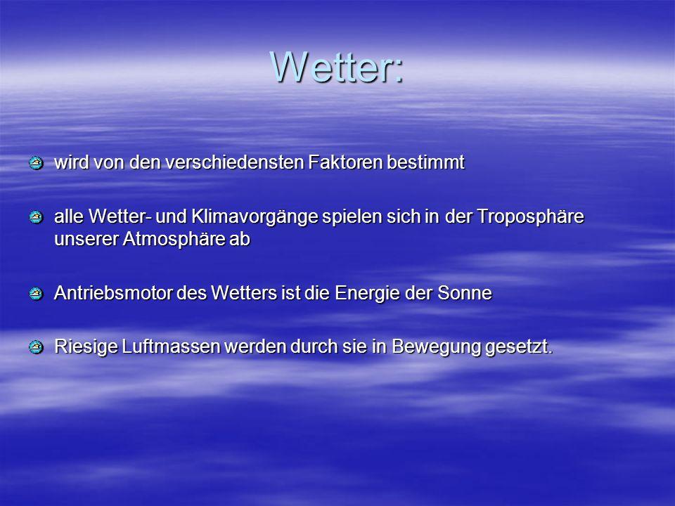 Wetter: wird von den verschiedensten Faktoren bestimmt