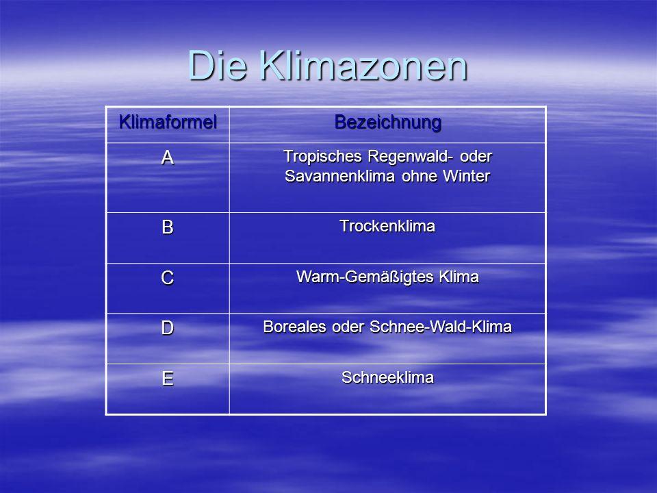 Die Klimazonen Klimaformel Bezeichnung A B C D E