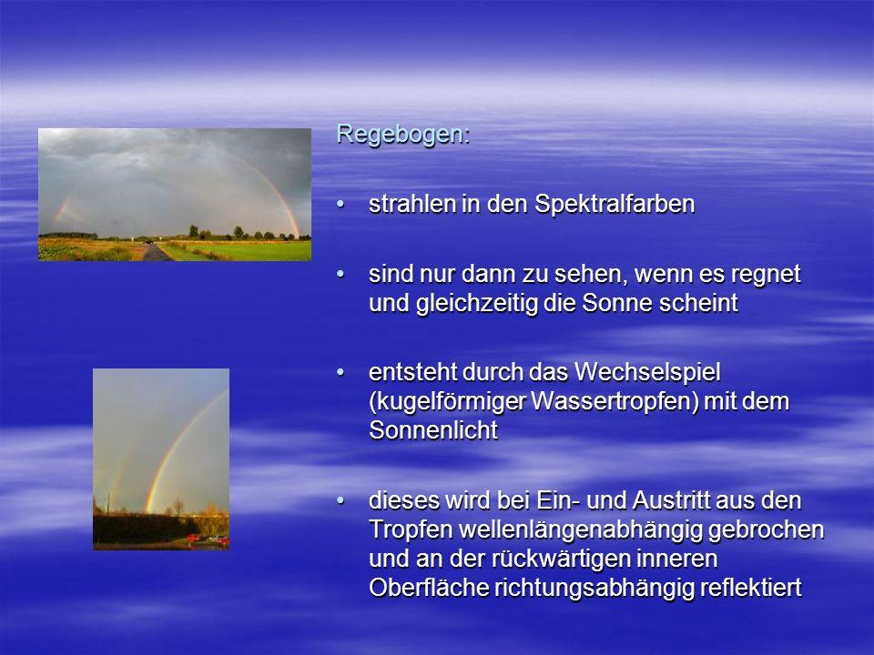 Regebogen: strahlen in den Spektralfarben. sind nur dann zu sehen, wenn es regnet und gleichzeitig die Sonne scheint.