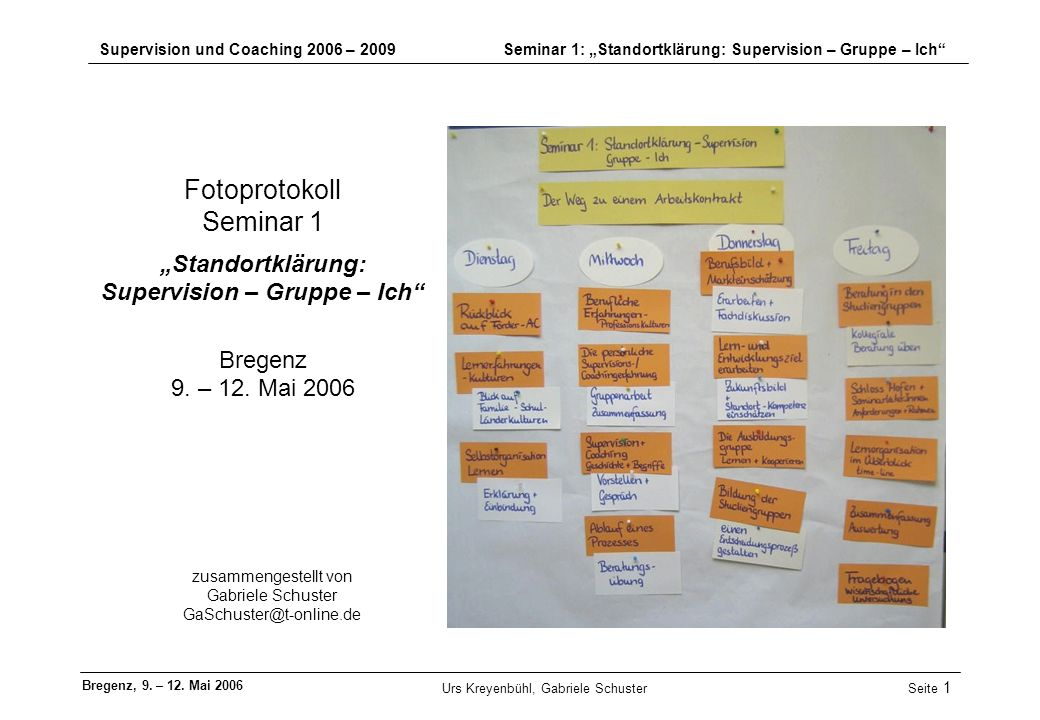 zusammengestellt von Gabriele Schuster GaSchuster@t-online.de