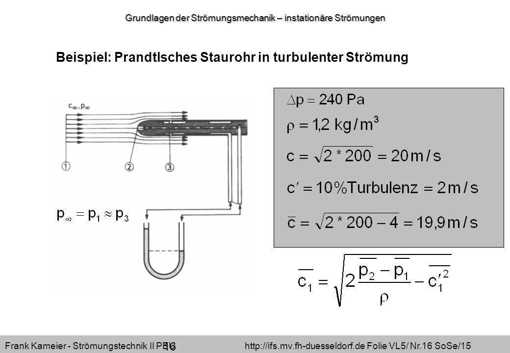 Grundlagen der Strömungsmechanik – instationäre Strömungen