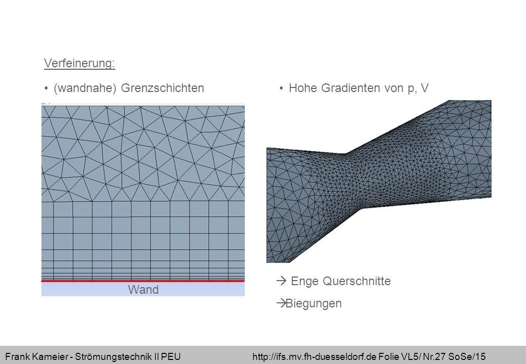 Verfeinerung: (wandnahe) Grenzschichten Hohe Gradienten von p, V  Enge Querschnitte Biegungen Wand