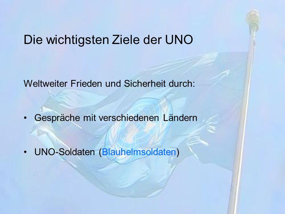 Die wichtigsten Ziele der UNO