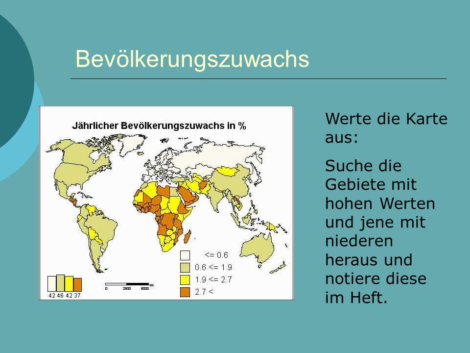 Bevölkerungszuwachs Werte die Karte aus: