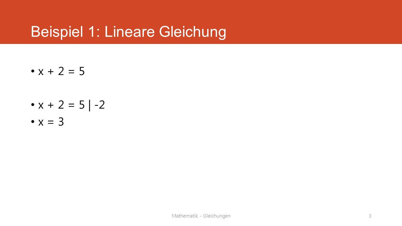 Beispiel 1: Lineare Gleichung