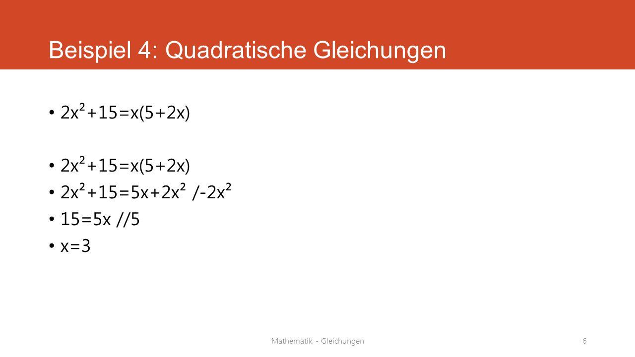 Beispiel 4: Quadratische Gleichungen