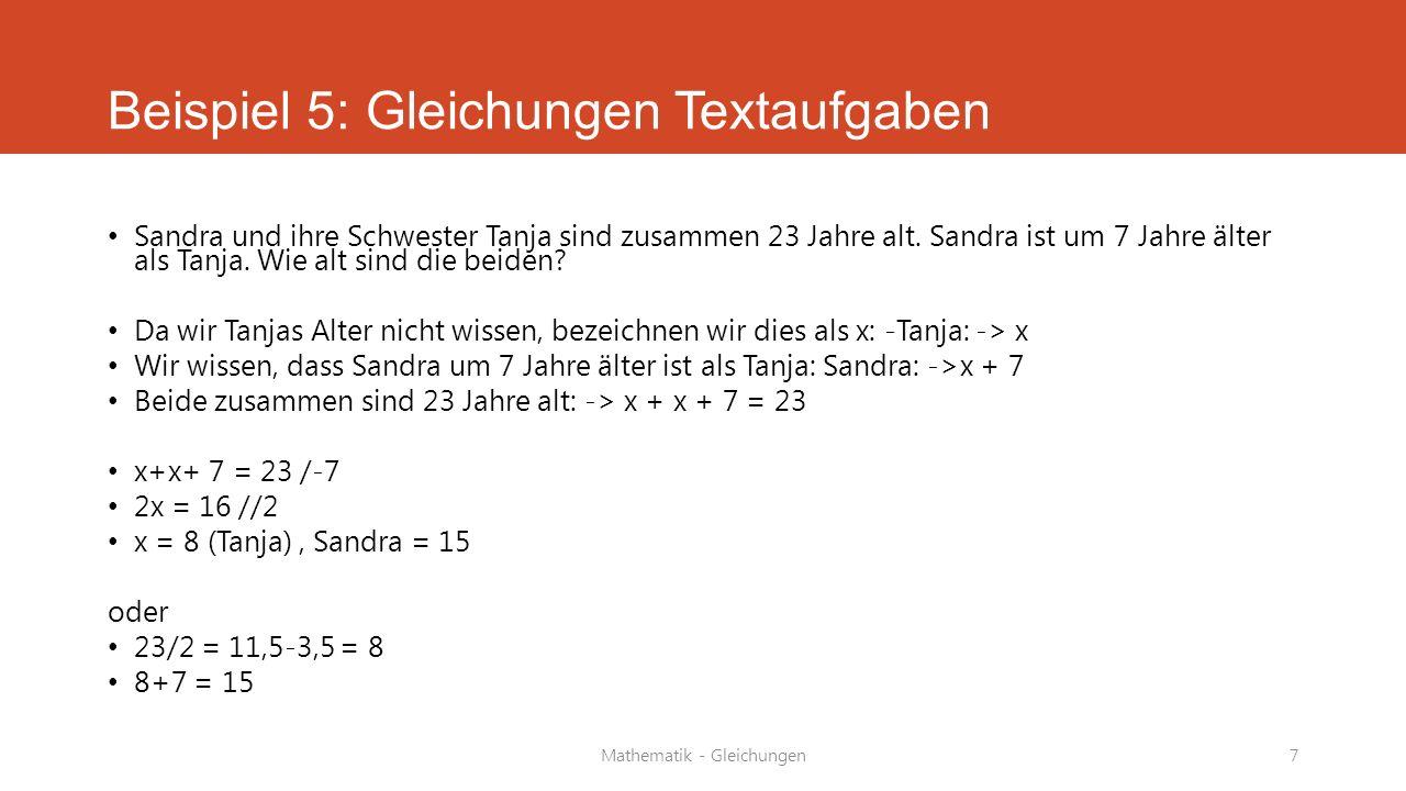 Beispiel 5: Gleichungen Textaufgaben
