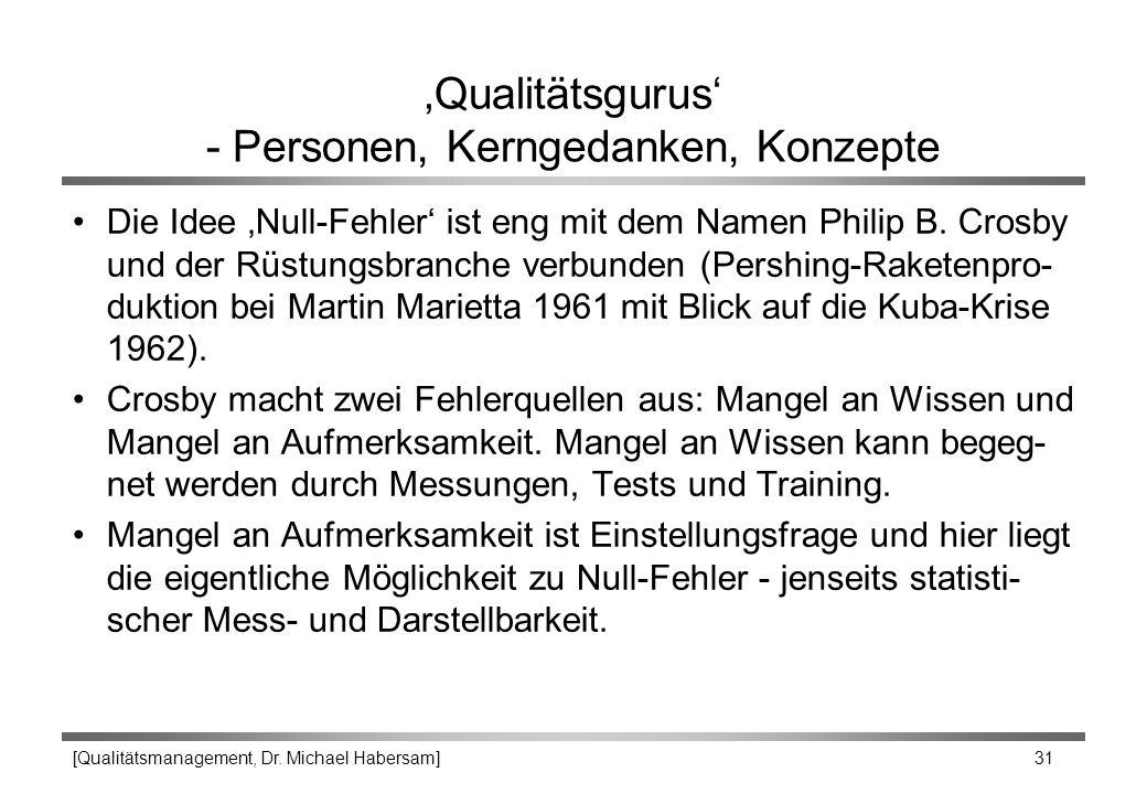'Qualitätsgurus' - Personen, Kerngedanken, Konzepte